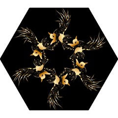 Beautiful Bird In Gold And Black Mini Folding Umbrellas