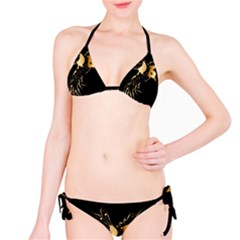Beautiful Bird In Gold And Black Bikini Set