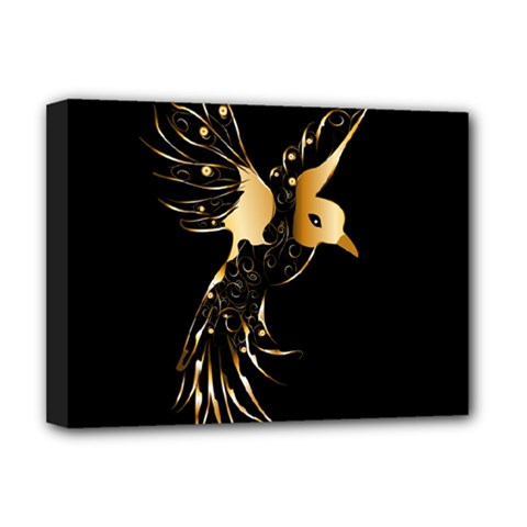 Beautiful Bird In Gold And Black Deluxe Canvas 16  X 12