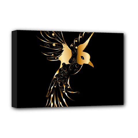 Beautiful Bird In Gold And Black Deluxe Canvas 18  X 12