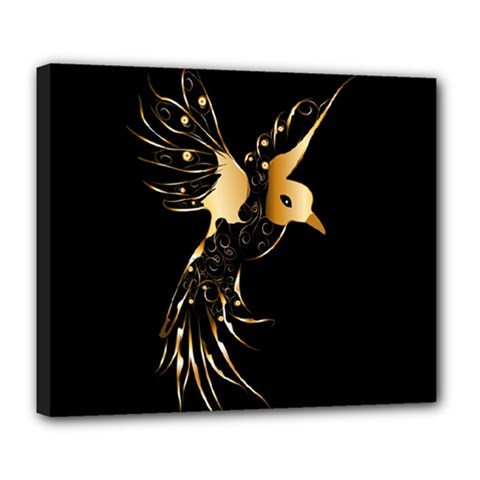 Beautiful Bird In Gold And Black Deluxe Canvas 24  X 20