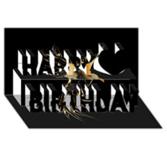 Beautiful Bird In Gold And Black Happy Birthday 3d Greeting Card (8x4)