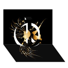 Beautiful Bird In Gold And Black Peace Sign 3d Greeting Card (7x5)