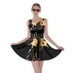 Beautiful Bird In Gold And Black Skater Dresses