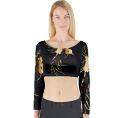Beautiful Bird In Gold And Black Long Sleeve Crop Top