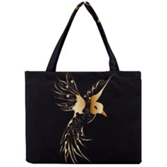 Beautiful Bird In Gold And Black Tiny Tote Bags
