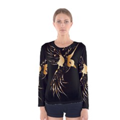 Beautiful Bird In Gold And Black Women s Long Sleeve T Shirts