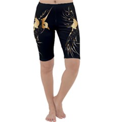 Beautiful Bird In Gold And Black Cropped Leggings
