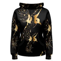 Beautiful Bird In Gold And Black Women s Pullover Hoodies