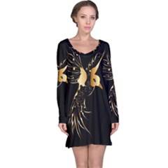 Beautiful Bird In Gold And Black Long Sleeve Nightdresses
