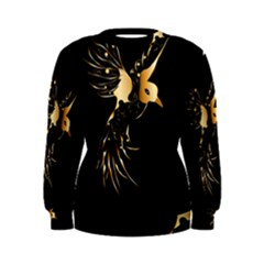 Beautiful Bird In Gold And Black Women s Sweatshirts