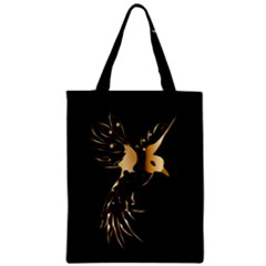 Beautiful Bird In Gold And Black Zipper Classic Tote Bags
