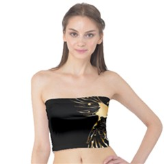 Beautiful Bird In Gold And Black Women s Tube Tops