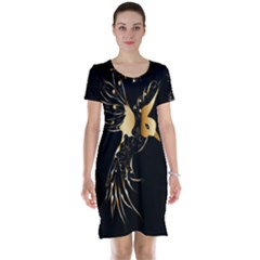 Beautiful Bird In Gold And Black Short Sleeve Nightdresses