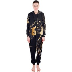 Beautiful Bird In Gold And Black Hooded Jumpsuit (ladies)