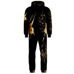 Beautiful Bird In Gold And Black Hooded Jumpsuit (men)