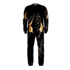 Beautiful Bird In Gold And Black Onepiece Jumpsuit (kids)