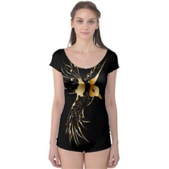 Beautiful Bird In Gold And Black Short Sleeve Leotard