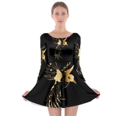 Beautiful Bird In Gold And Black Long Sleeve Skater Dress
