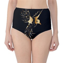 Beautiful Bird In Gold And Black High Waist Bikini Bottoms
