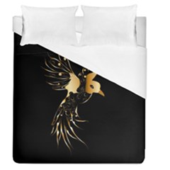 Beautiful Bird In Gold And Black Duvet Cover Single Side (full/queen Size)