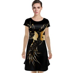 Beautiful Bird In Gold And Black Cap Sleeve Nightdresses