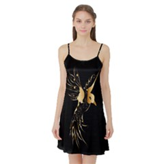 Beautiful Bird In Gold And Black Satin Night Slip