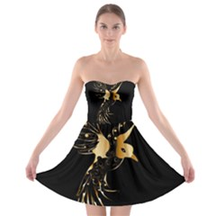 Beautiful Bird In Gold And Black Strapless Bra Top Dress