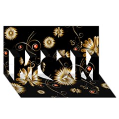 Golden Flowers On Black Background Mom 3d Greeting Card (8x4)  by FantasyWorld7