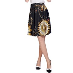 Golden Flowers On Black Background A-line Skirts by FantasyWorld7