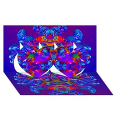 Abstract 4 Twin Hearts 3d Greeting Card (8x4)  by icarusismartdesigns
