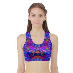 Abstract 4 Women s Sports Bra With Border by icarusismartdesigns