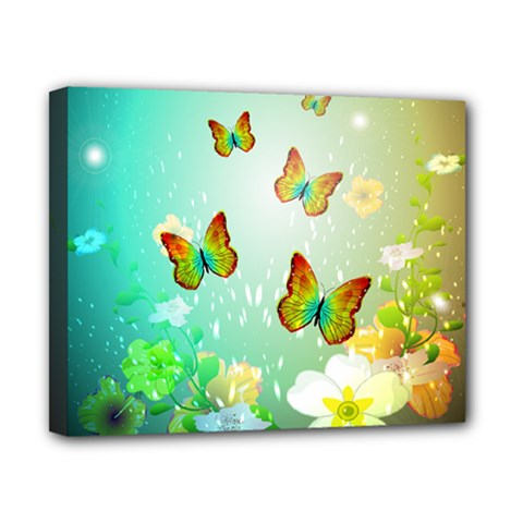 Flowers With Wonderful Butterflies Canvas 10  X 8