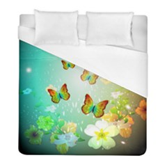 Flowers With Wonderful Butterflies Duvet Cover Single Side (twin Size) by FantasyWorld7
