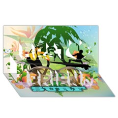 Surfing Best Friends 3d Greeting Card (8x4)  by FantasyWorld7