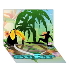 Surfing Heart Bottom 3d Greeting Card (7x5)  by FantasyWorld7