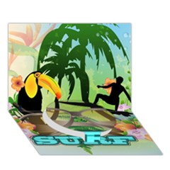 Surfing Circle Bottom 3d Greeting Card (7x5)  by FantasyWorld7
