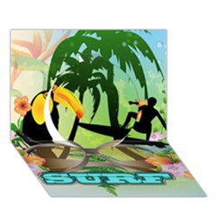 Surfing Circle 3d Greeting Card (7x5)  by FantasyWorld7