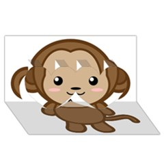 Kawaii Monkey Twin Hearts 3d Greeting Card (8x4)  by KawaiiKawaii