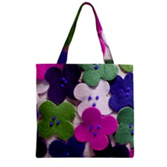 Cotton Flower Buttons  Zipper Grocery Tote Bags by OCDesignss