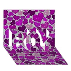 Sparkling Hearts Purple Boy 3d Greeting Card (7x5)