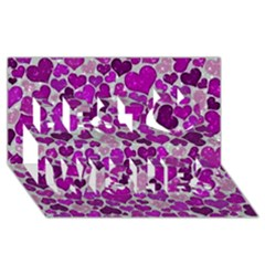 Sparkling Hearts Purple Best Wish 3d Greeting Card (8x4)  by MoreColorsinLife