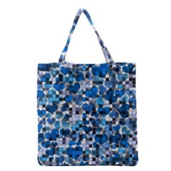 Hearts And Checks, Blue Grocery Tote Bags by MoreColorsinLife