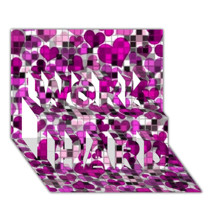 Hearts And Checks, Purple WORK HARD 3D Greeting Card (7x5)