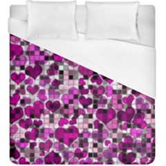 Hearts And Checks, Purple Duvet Cover Single Side (kingsize) by MoreColorsinLife