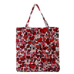 Hearts And Checks, Red Grocery Tote Bags