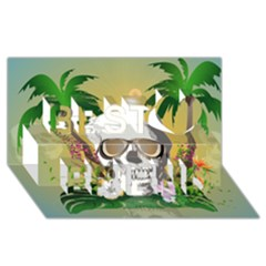 Funny Skull With Sunglasses And Palm Best Friends 3d Greeting Card (8x4)  by FantasyWorld7