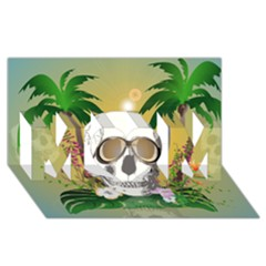 Funny Skull With Sunglasses And Palm Mom 3d Greeting Card (8x4)  by FantasyWorld7