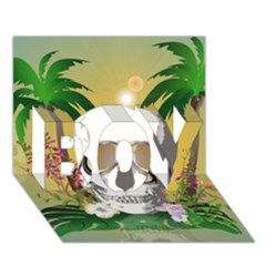 Funny Skull With Sunglasses And Palm Boy 3d Greeting Card (7x5) by FantasyWorld7