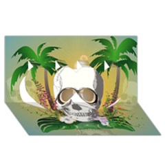 Funny Skull With Sunglasses And Palm Twin Hearts 3d Greeting Card (8x4)  by FantasyWorld7